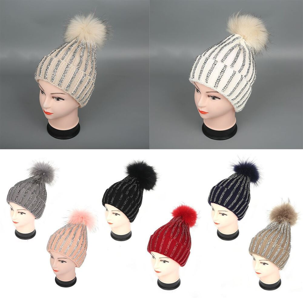 5aa26abb656 Details about Womens Wool Knitted Real Fur Pom Pom Diamante Beanie Bobble  Ski Hat Slouch Cap