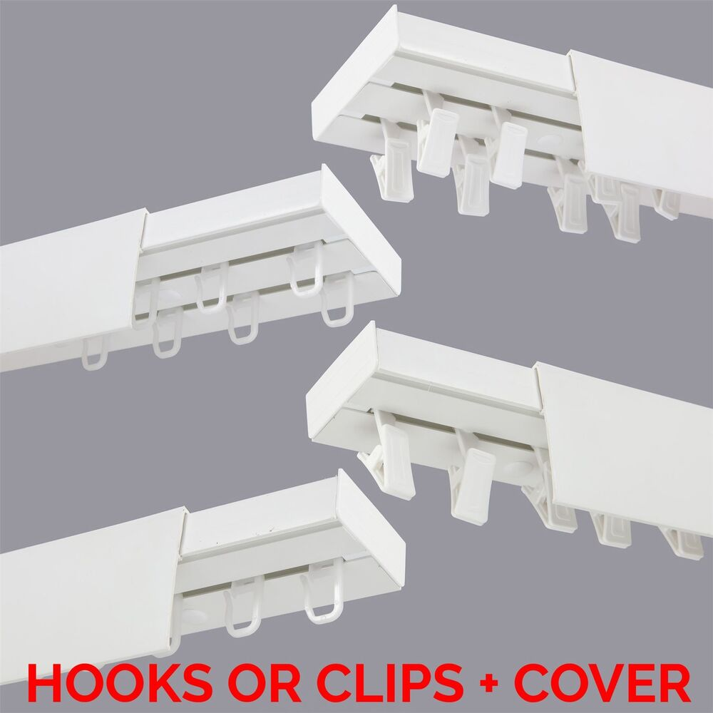 Curtain Rail Track PCV Ceiling SET With HOOKS Or CLIPS