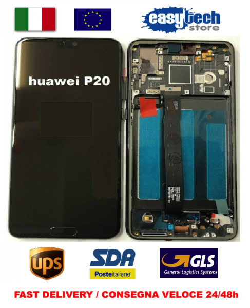 Touch Screen  + LCD Display+ Frame Per HUAWEI P20 EML-L09 Telaio ORIGINALE NERO