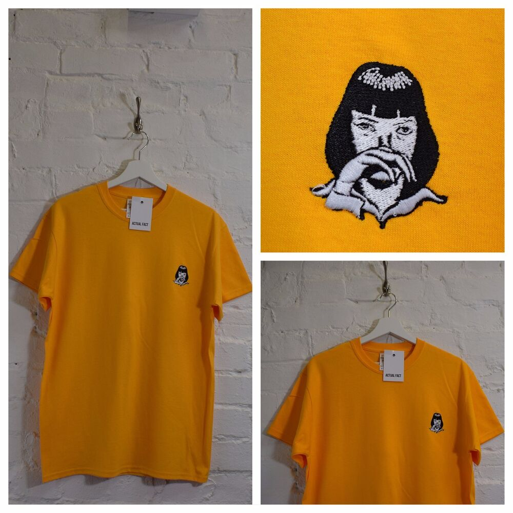 67740a48a Details about Actual Fact Pulp Fiction x Mia Wallace Cocaine Yellow Tee T- shirt