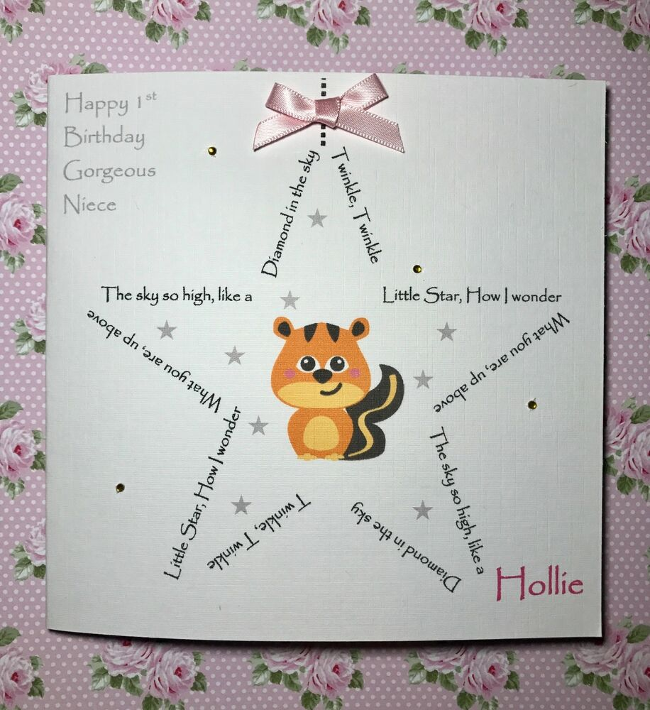 Details About Handmade Girls 1st Birthday Card Daughter Niece Granddaughter Personalised