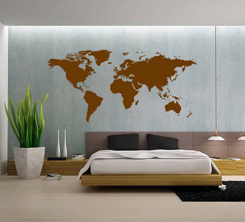 Huge World Map Wall Art Quote Wall Stickers Home Decals Uk Sh264 Ebay