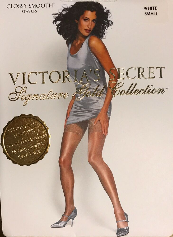 ff69fcc3973 Details about Victoria Secret Signature Gold Collection Glossy Smooth Stay  Up White Size Small