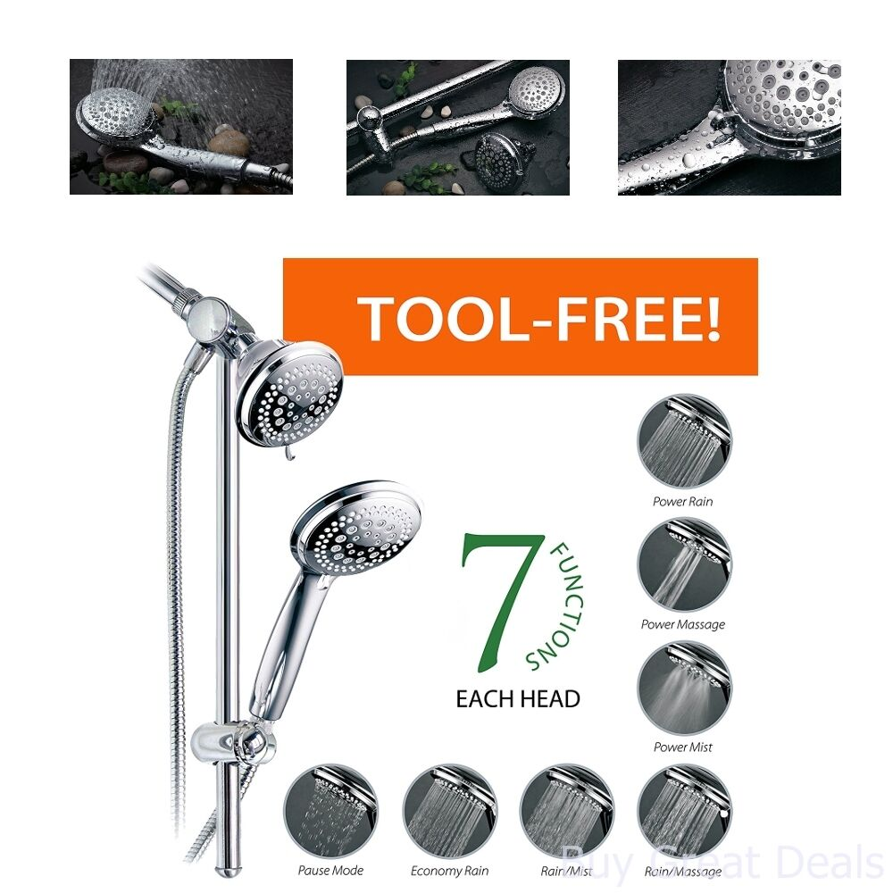 Shower Head And Hand Held Shower 36 Full Water Flow Patterns 22 Inch ...