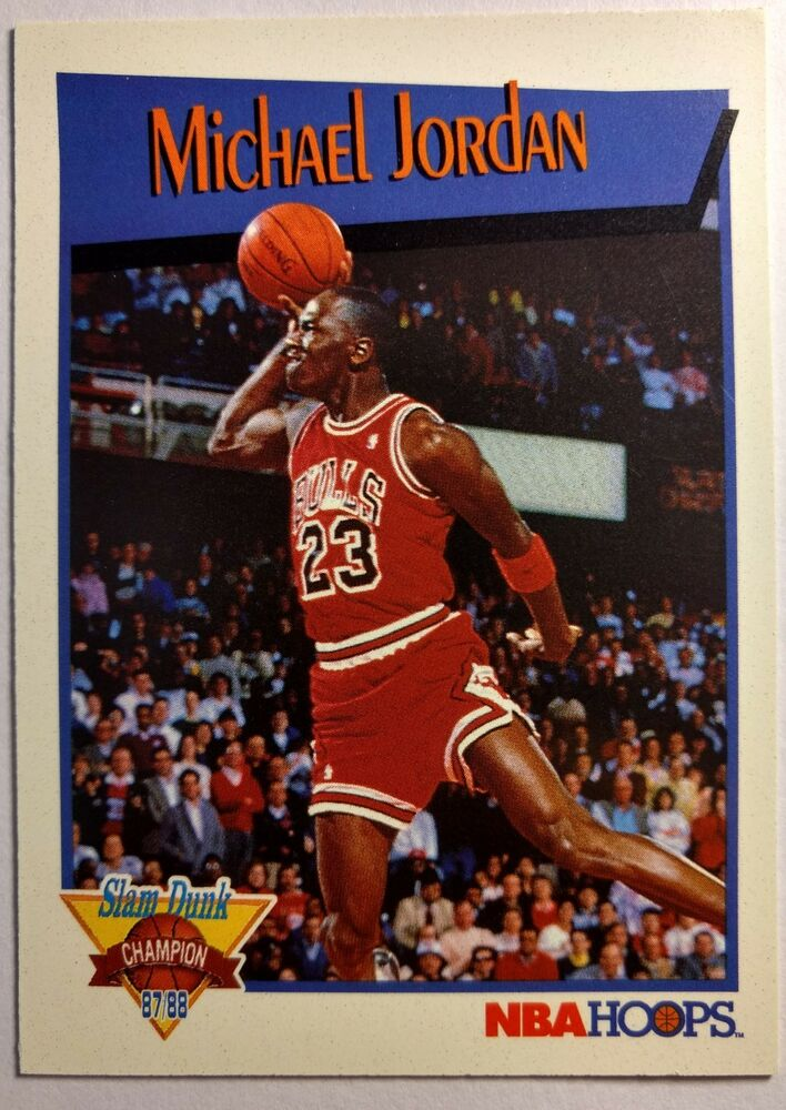 Details About 1991 91 92 NBA Hoops Slam Dunk Champion Michael Jordan IV Vintage MJ Insert