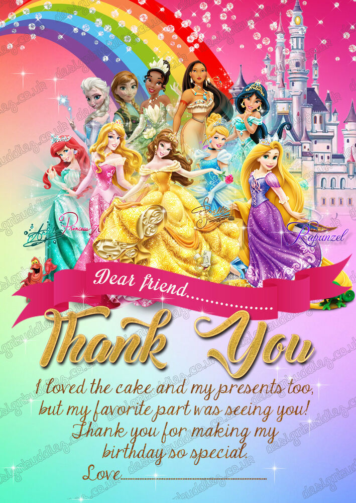 personalised disney princess thank you card princess party thank you cards x8 7434951975972