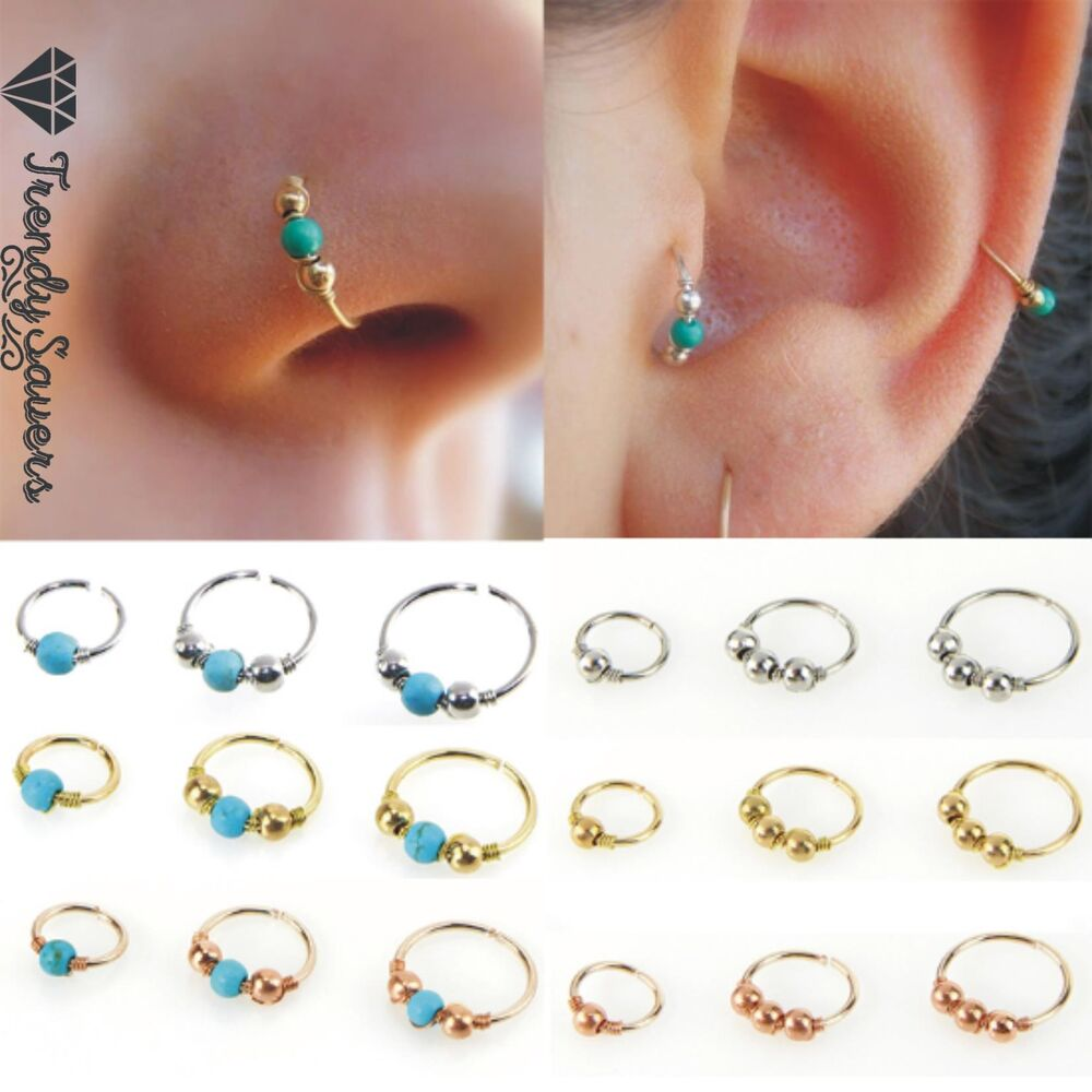 1x Surgical Steel Nose Ring Turquoise Nostril Helix Nose