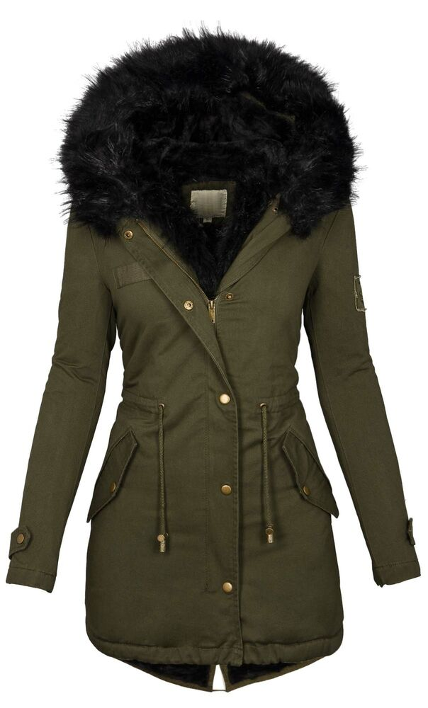 damen winter jacke warme winterjacke baumwolle parka mantel buntes fell b515 ebay. Black Bedroom Furniture Sets. Home Design Ideas