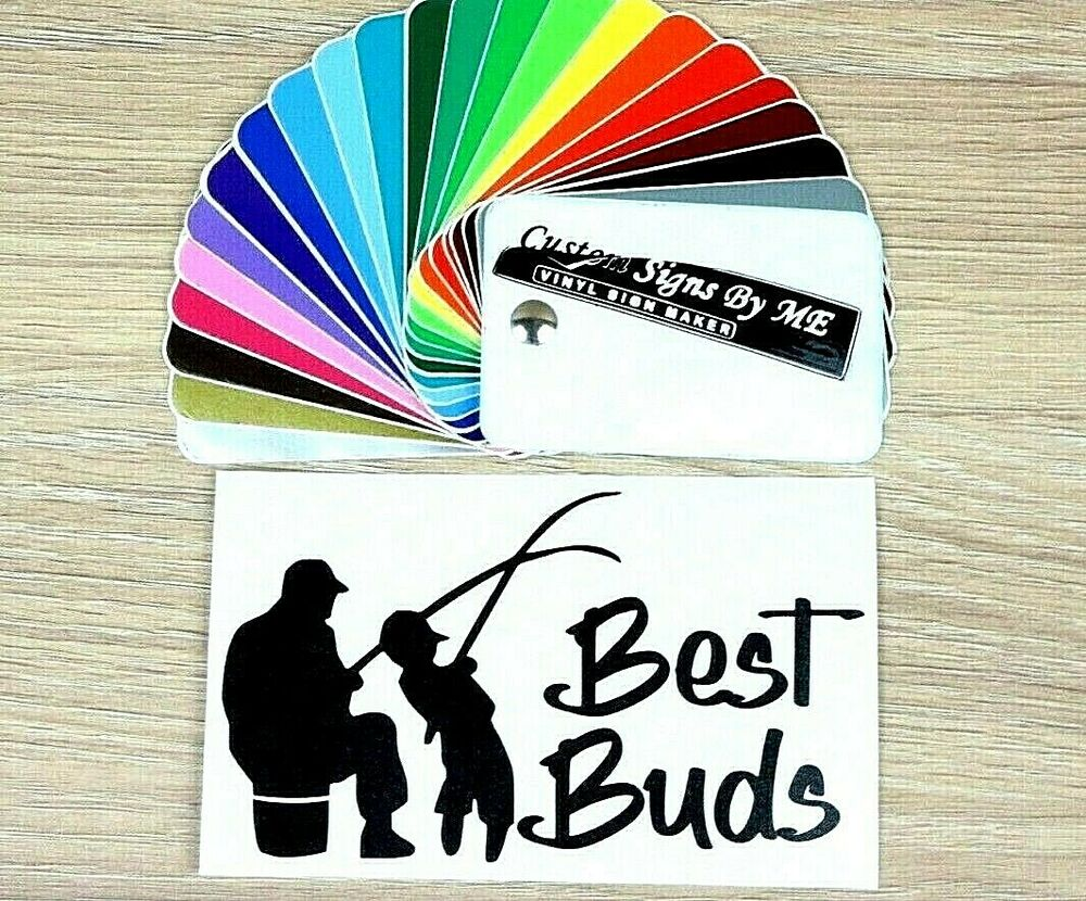 Details about best buds fisherman funny sticker vinyl decal adhesive wall window laptop bumper