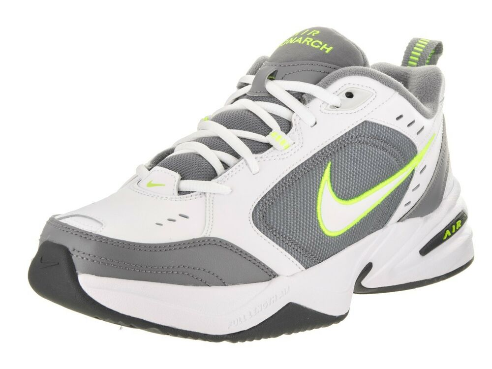 5031ceba19731f Details about Nike AIR MONARCH IV Mens White Grey Volt 100 Lace Up Running  Training Shoes