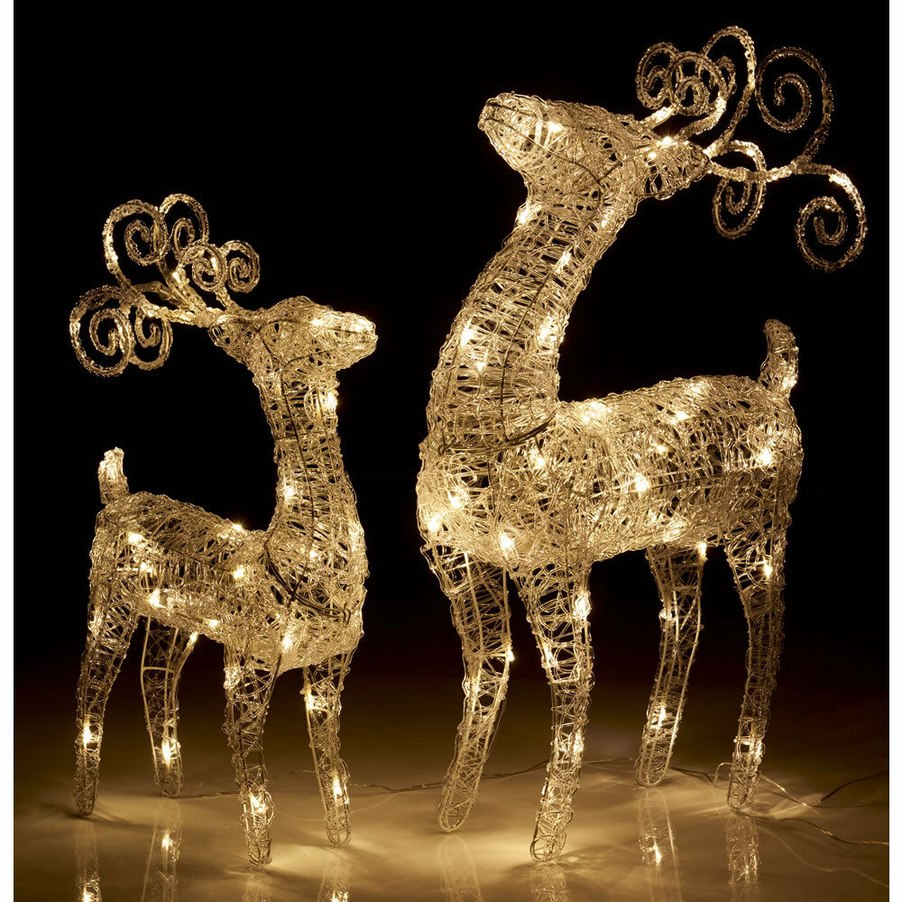 Outdoor Christmas Light Up Reindeer Acrylic LED Light Up Polarbear Snowman  eBay