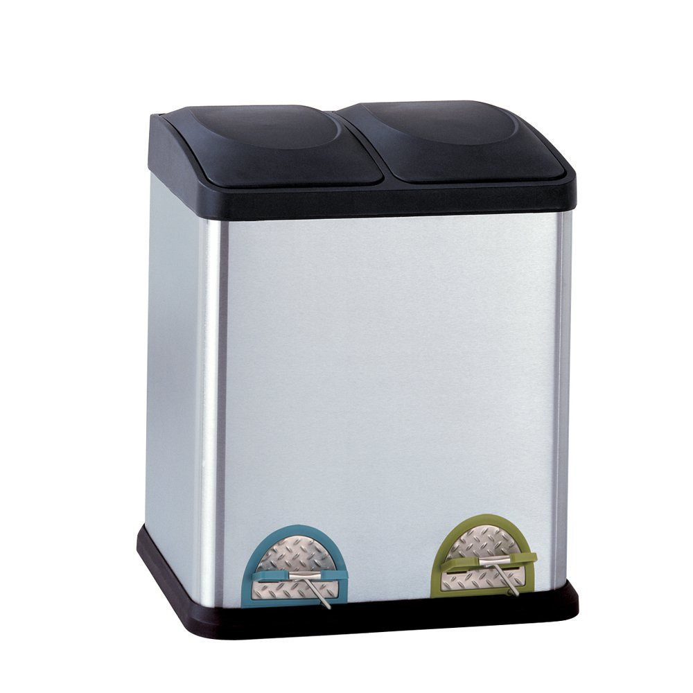 Stainless Steel Kitchen Garbage Can: Kitchen Recycle Bin Stainless Steel Trash Can Double