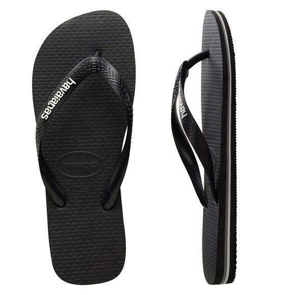 ba5f10b20 Details about NEW Havaianas Havaianas RUBBER LOGO BLACK GLACIAL WHITE MALE
