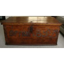 Antique Pine Wood Blanket Chest Trunk, c. 1816, Coffee Table, Vintage