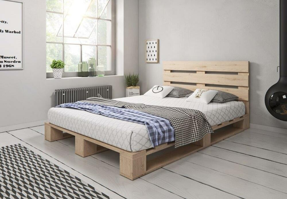 palettenbett aus holz holzbett massivholzbett palettenm bel mit kopfteil ebay. Black Bedroom Furniture Sets. Home Design Ideas