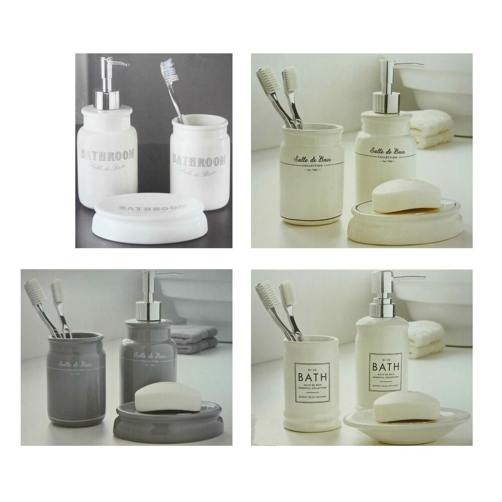Salle De Bain Rose Et Blanc ~ 3 Piece Ceramic Bathroom Set Salle De Bain Tumbler Soap Dispenser