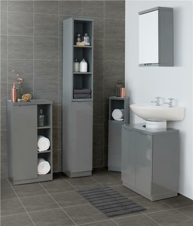Grey Bathroom Furniture Uk: Grey Gloss Bathroom Furniture Range Storage Cabinet