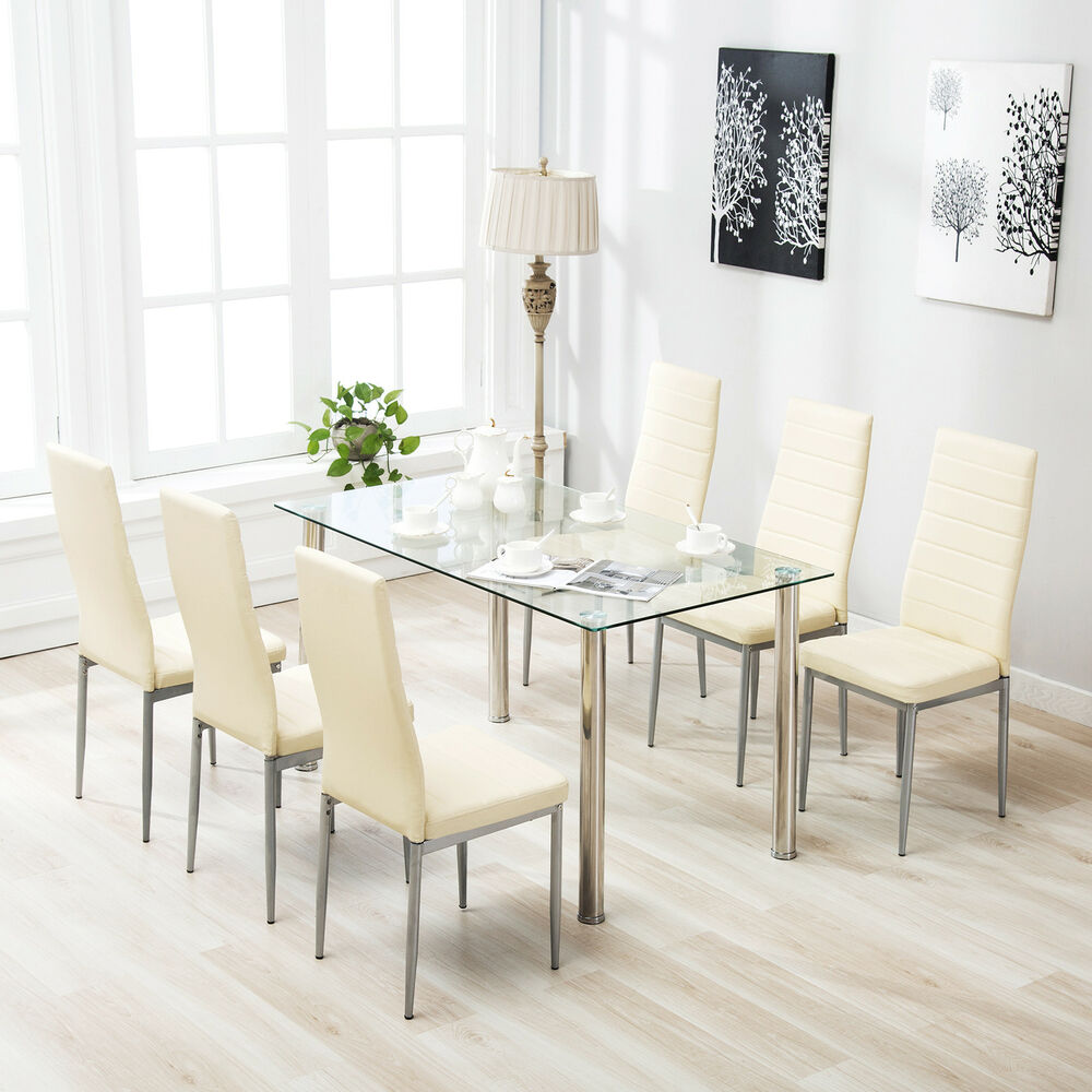 7 Piece Dining Table Set For 6 Chairs Clear Glass Metal