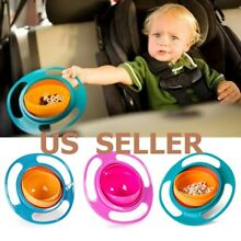 Baby Kids Infant Feeding Dishes Gyro Bowl Universal 360? Rotate Spill Proof Bowl