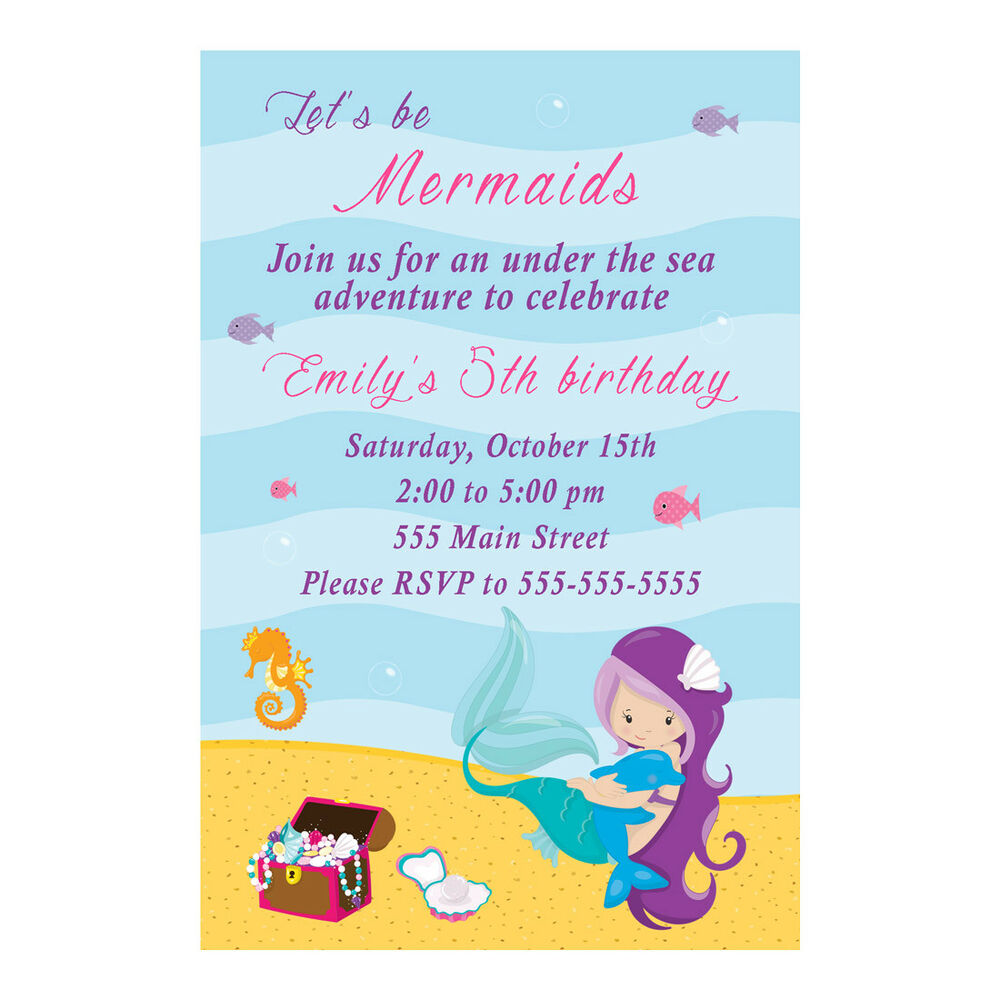 Details About 30 Invitations Mermaid Girl Birthday Party Baby Shower Personalized Under Sea