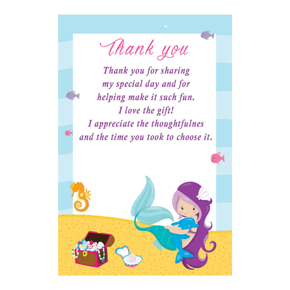 30 Thank You Card Notes Baby Shower Birthday Mermaid Under The Sea