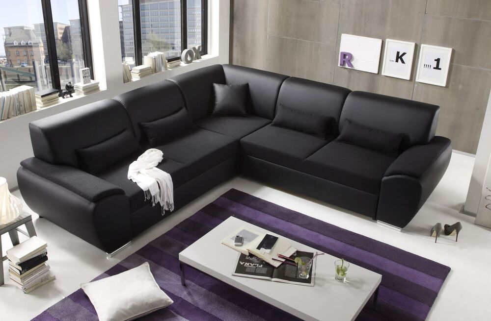 ecksofa kombiecke couch schlafcouch funktionssofa ausziehbar schwarz 272 cm ebay. Black Bedroom Furniture Sets. Home Design Ideas