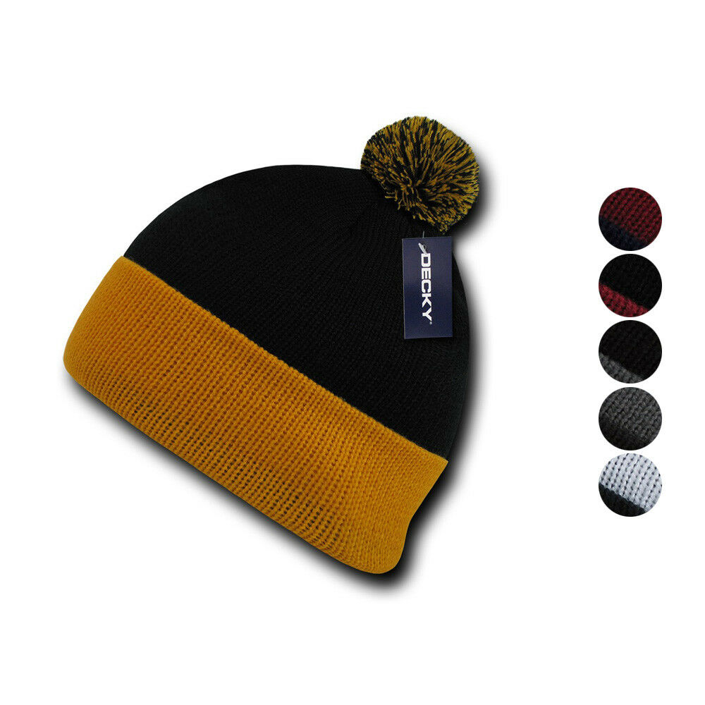 Details about Decky Pom Pom Two Tone Beanies Long Cuffed Tight Stretchy  Knitted Ski Caps Hats c31b2780762