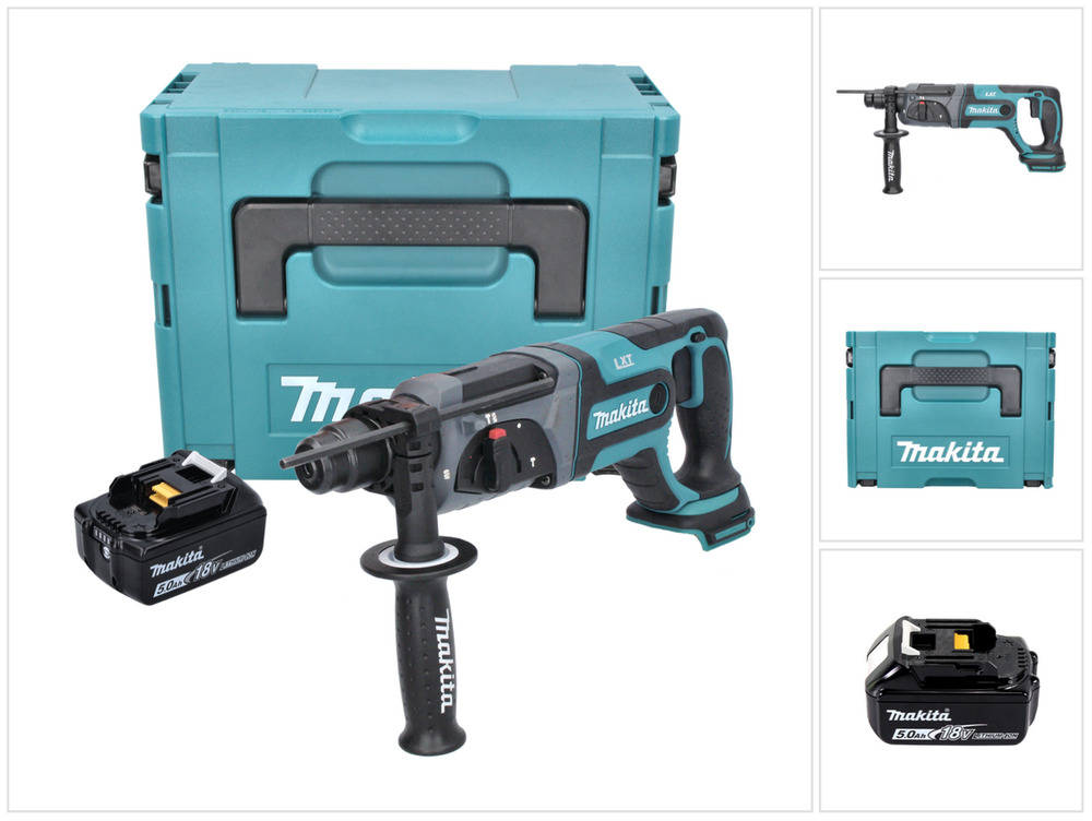makita dhr 241 18 v li ion akku bohrhammer mit sds plus im makpac 5 0 ah akku ebay. Black Bedroom Furniture Sets. Home Design Ideas