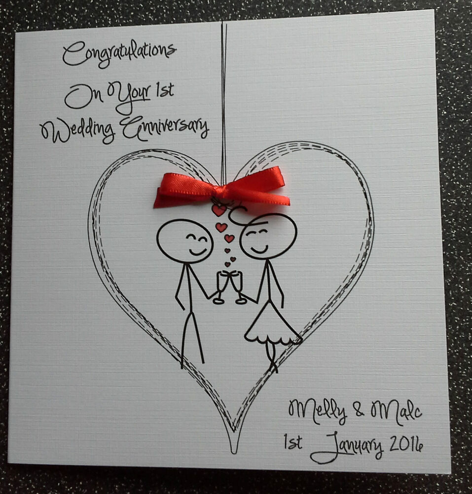 Funny Wedding Anniversary: HANDMADE PERSONALISED FIRST WEDDING ANNIVERSARY CARD, OR