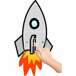 ROCKET sticker LIGHT SWITCH SURROUND AND COVER SET bedroom WALL ART SPACESHIP