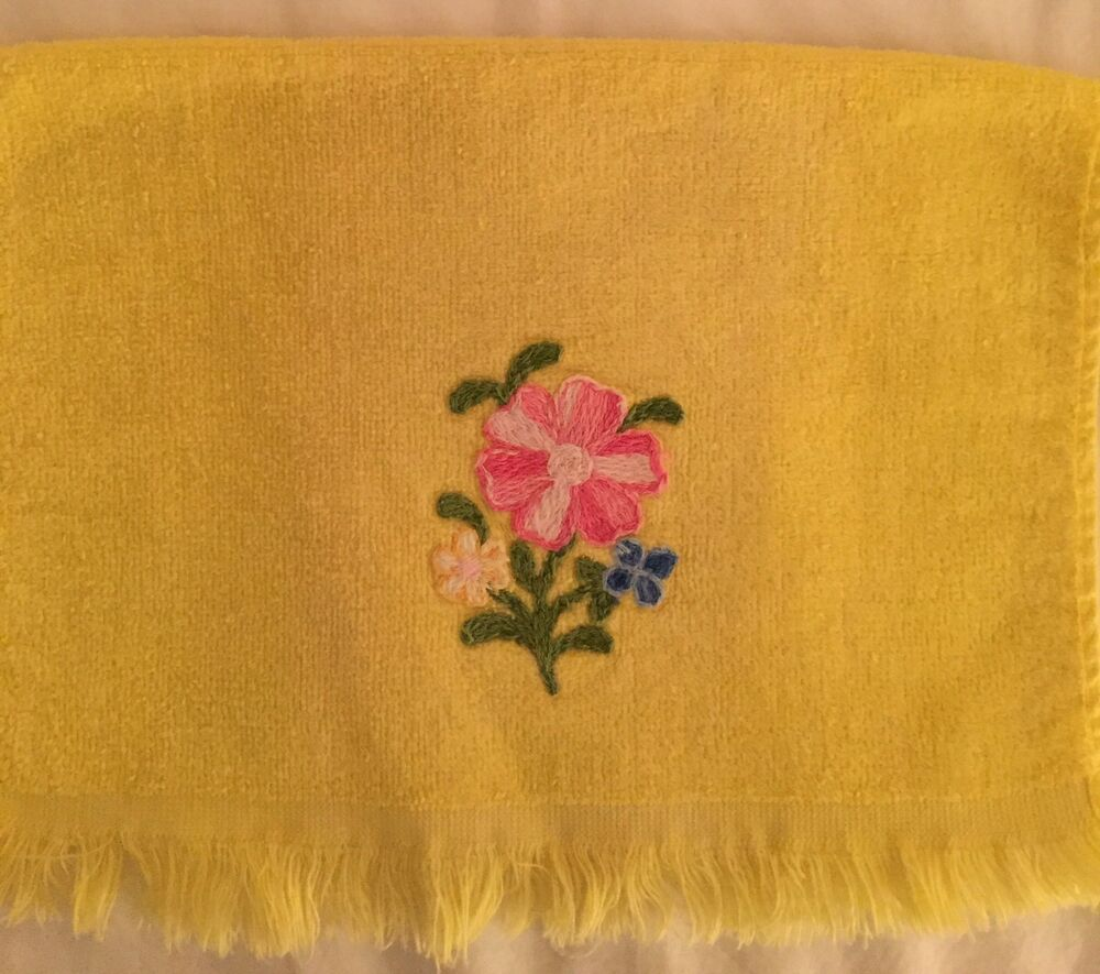 Who Sells Cannon Bath Towels: Vintage Cannon Fingertip Towel Fringe Yellow Embroidered