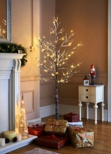 6ft Snowy Effect Warm White Twig Tree Pre Lit 120 Led Xmas Lights Indoor Outdoor Ebay