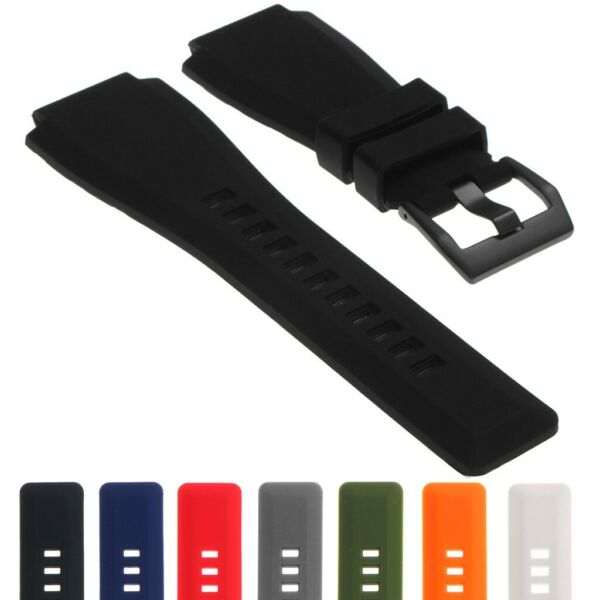 StrapsCo PU Silicone Rubber Watch Strap for Bell & Ross with Matte Black Buckle