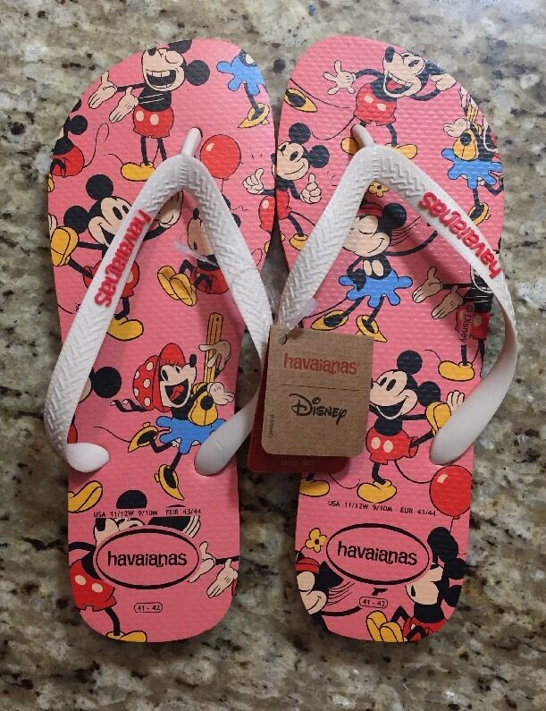 ac55432dba0 Details about NEW Havaianas Disney Mickey Mouse Adult Pink Flip Flops Sandal  Size USA 11 12 W