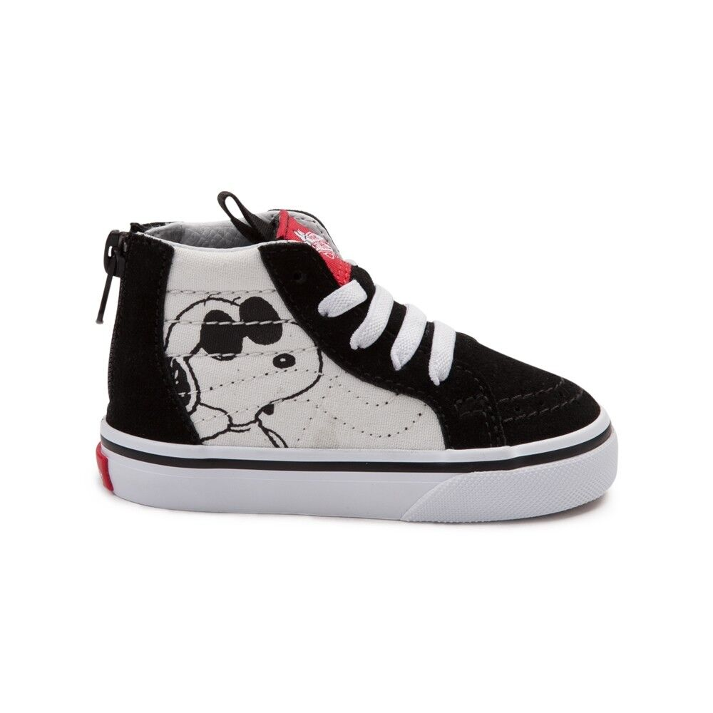 4e1a9ca0aee7 Details about Vans SK8 Hi Zip Peanuts Snoopy Joe Cool Black Toddler Baby  Boys Girls Shoes