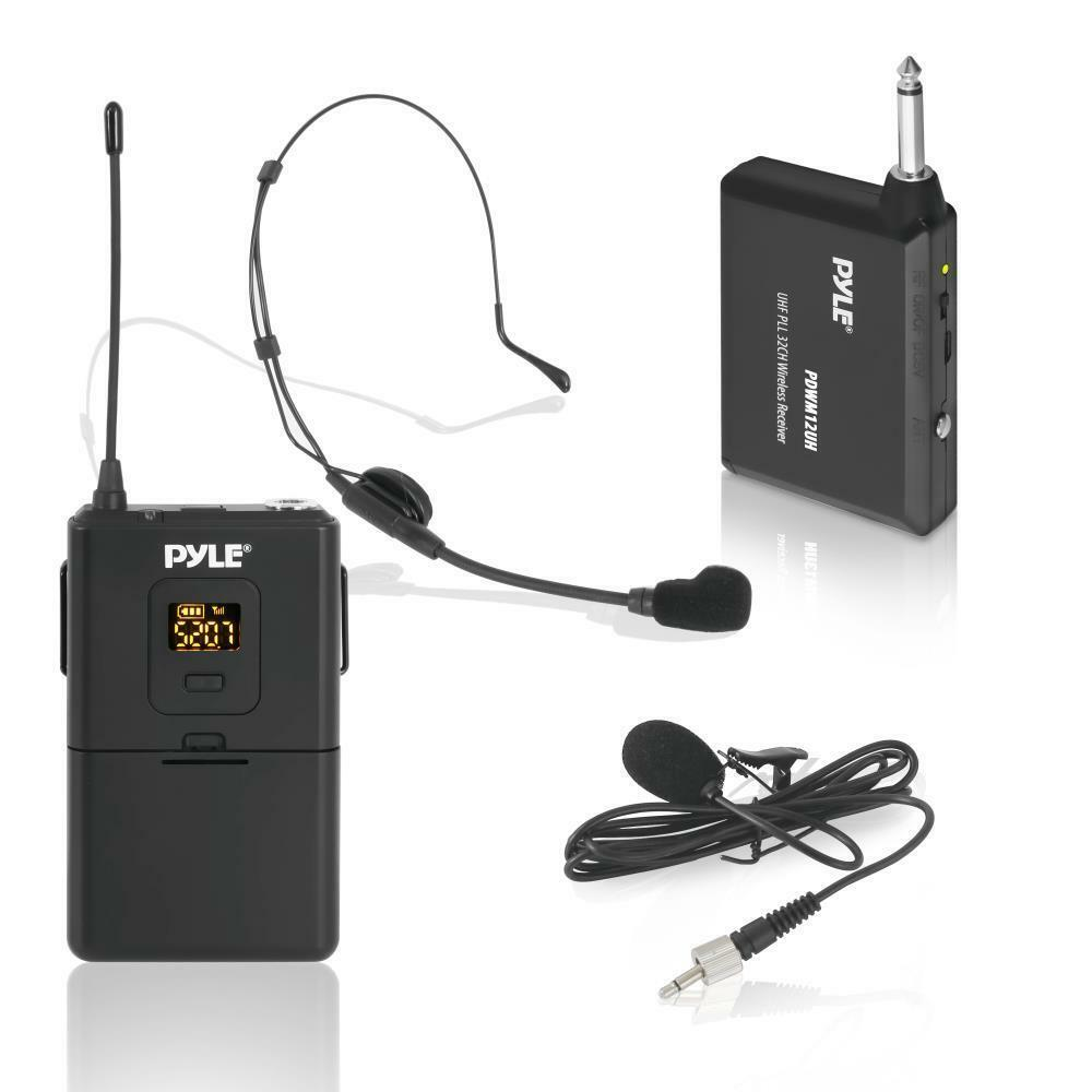 pyle wireless microphone system beltpack transmitter w headset lavalier mics ebay. Black Bedroom Furniture Sets. Home Design Ideas