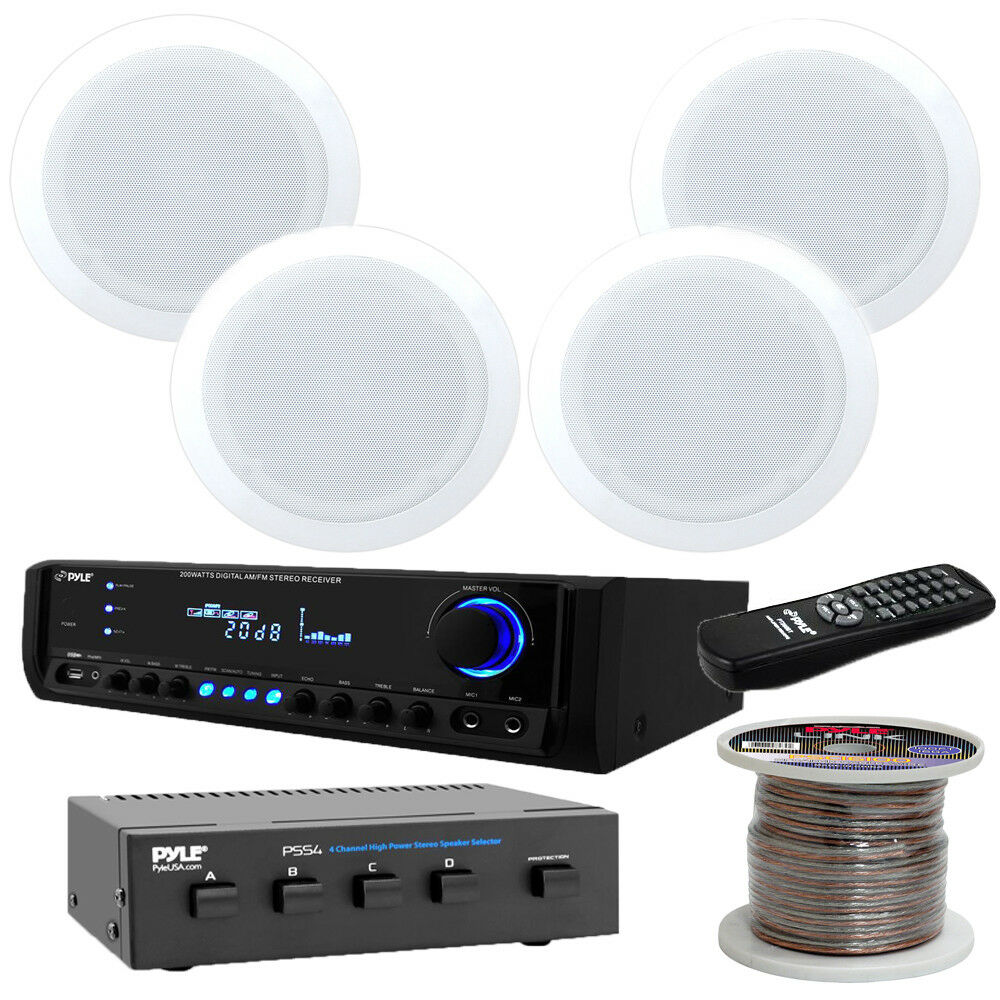pyle pt390au 300w stereo receiver 4 ch selector wire 8. Black Bedroom Furniture Sets. Home Design Ideas