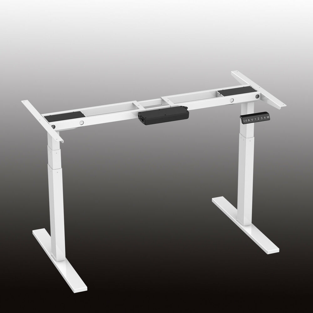 Details About Dual Motor + 3 Legs Electric Adjustable Height Desk Frame Sit  To Stand Desk Base
