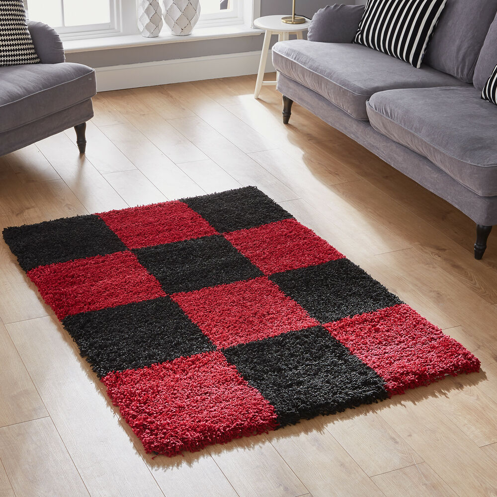 Black And White Rug Ebay Uk: MODERN 60x120cm BEST QUALITY SOFT SHAGGY RUG 5CM PILE RED