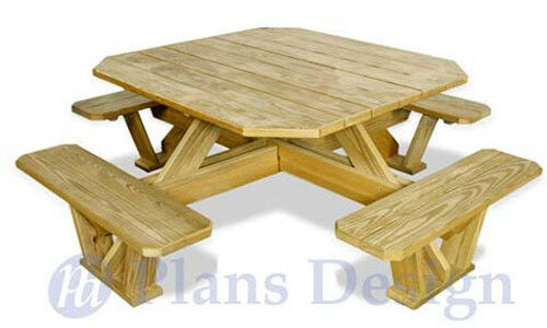 Traditional Square Picnic Table / Benches Woodworking Plans #ODF03 753182758855 | eBay