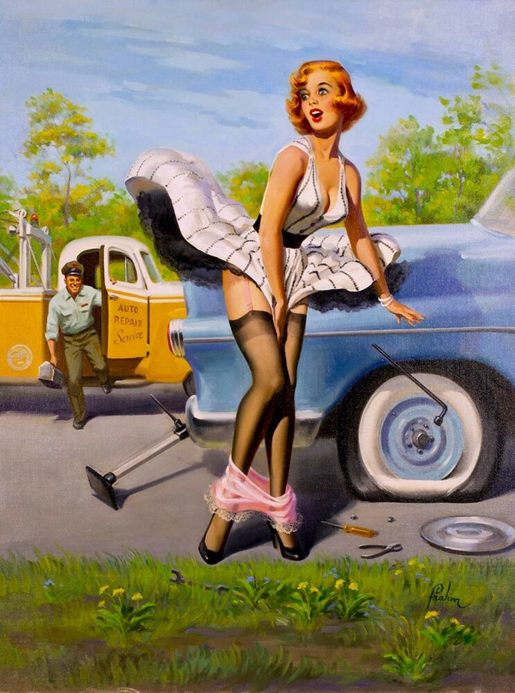 1940S Pin-Up Girl Changing A Tire Tow Picture Poster Print Vintage Art Pin Up  Ebay-3423