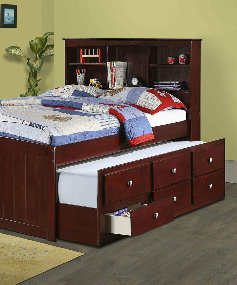 Landon Full Captains Bed With Bookcase Headboard Ebay