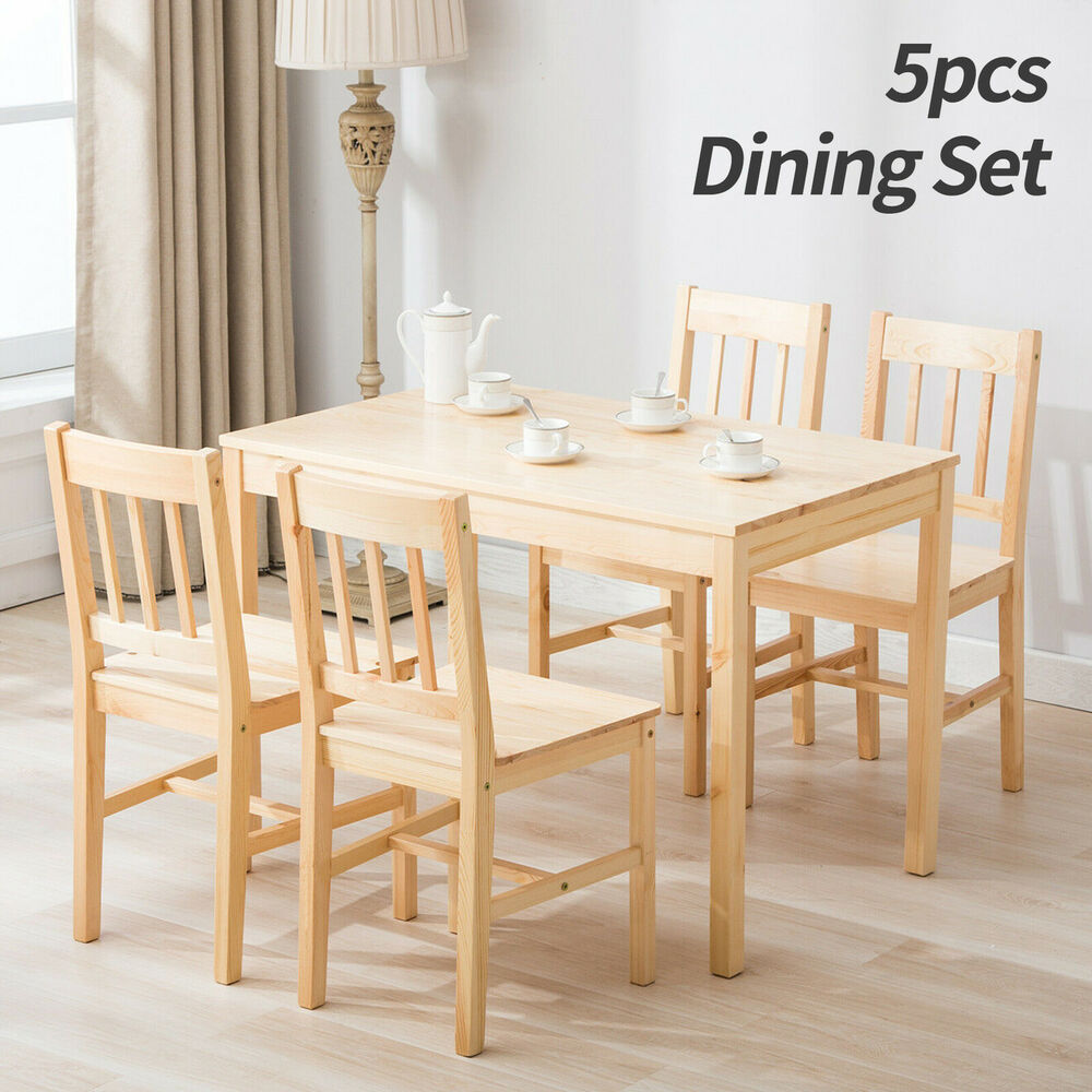 5 Piece Pine Wood Dining Table And 4 Chairs Set Breakfast