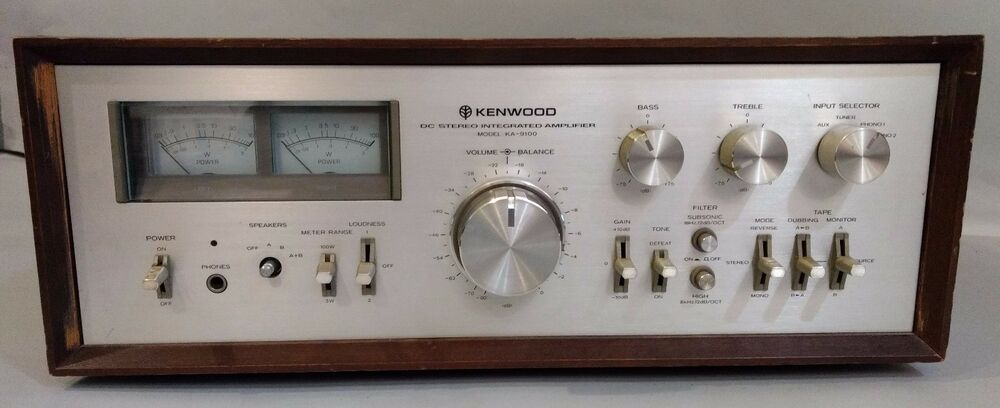 vintage kenwood ka 9100 dc stereo vollverst rker mit rare holz box case ebay. Black Bedroom Furniture Sets. Home Design Ideas