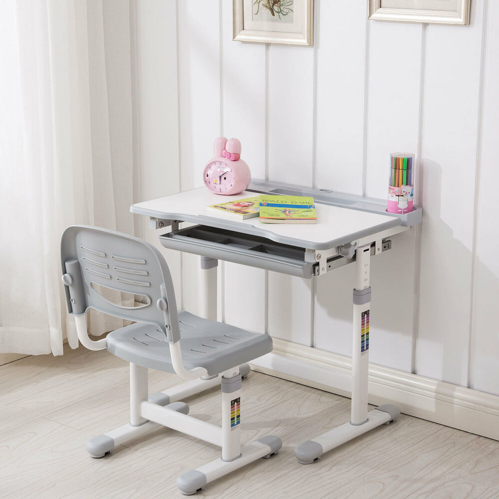 Grey Adjustable Children S Desk And Chair Set Child Kids