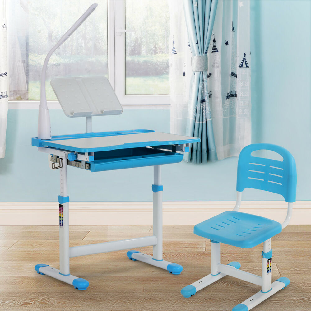 Adjustable Blue Children S Study Desk Table Chair Set