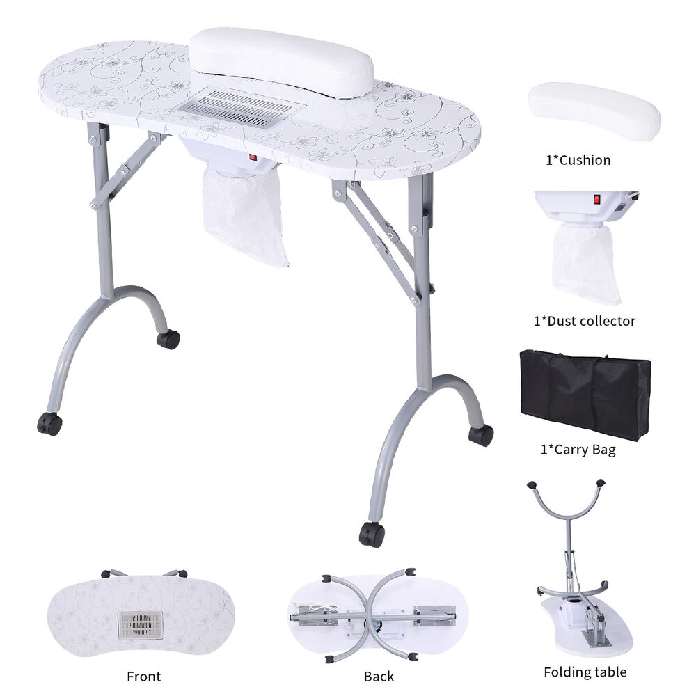 Foldable Manicure Nail Table Portable Stylist Station Desk