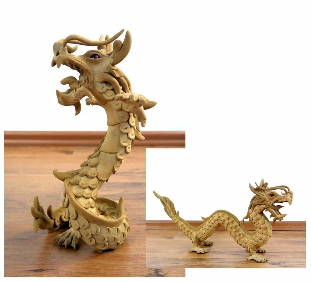 drache natur sammelfigur dekofigur statue holz skulptur thailand ebay. Black Bedroom Furniture Sets. Home Design Ideas