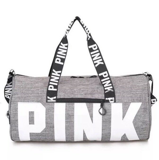 d78a9bea61d Details about Victoria s Secret PINK Grey Canvas Duffle Bag Yoga Holiday  Gym Travel Weekend