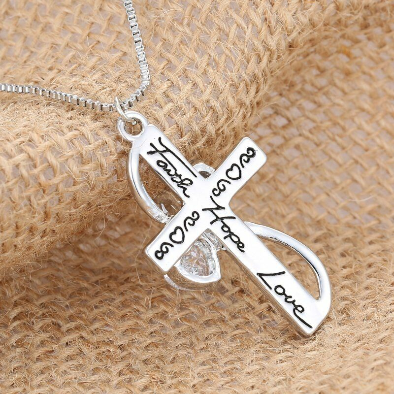 Fashion crystal silver plated cross faith hope love pendant fashion crystal silver plated cross faith hope love pendant necklace women new aloadofball Image collections